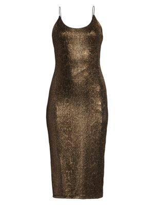 Alice Olivia Delora Glitter Midi Dress
