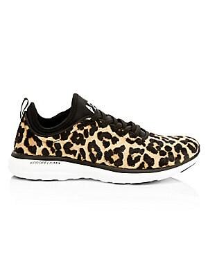 Women's Tech Loom Leopard Print Calf Hair Sneakers by Apl