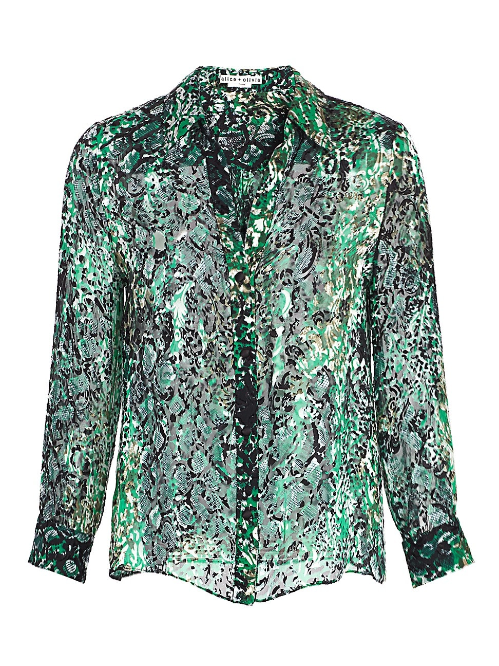 ALICE AND OLIVIA WOMEN'S ELOISE ANIMAL-PRINT SILK BLOUSE