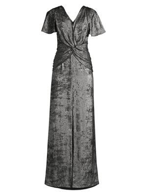 Aidan Mattox Flutter Sleeve Burn Velvet A Line Gown