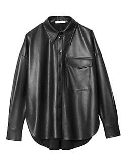 19cda5e5 Tibi. Faux Leather Utility Shirt