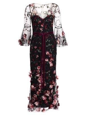 Marchesa Notte Bell Sleeve Embellished Cocktail Dress