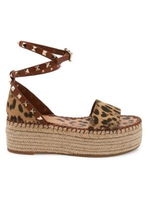 Valentino Garavani Garavani Rockstud City Safari Double Espadrille Platform Sandals In Selleria