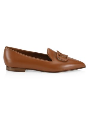 Valentino Garavani Garavani Vlogo Point-toe Leather Loafers In Selleria