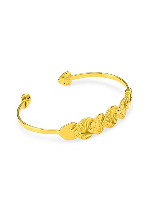 Etched hearts overlap to create a captivating goldtone cuff bracelet. 24K yellow goldplated Slip-on style Made in France SIZE Diameter, about 2.4\\\