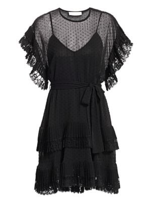 Zimmermann Eye Spy Dotted Mini Dress In Black