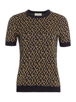 Gucci Shorts G-Rhombus Logo Metallic Wool Jacquard Knit Tee