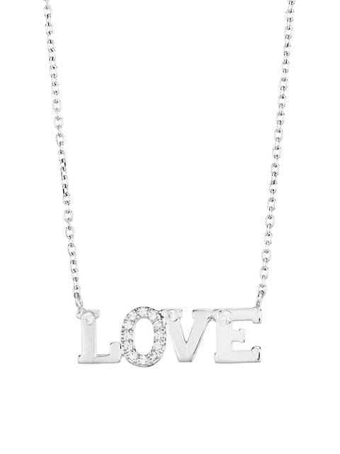 Rhodium-Plated Sterling Silver & White Sapphire Love Necklace