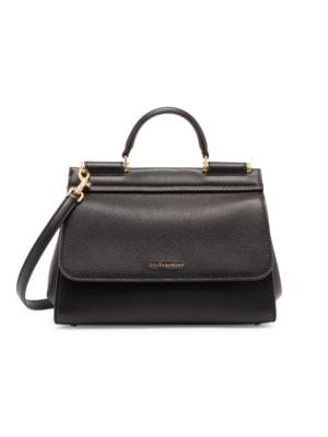 Dolce & Gabbana Sicily Leather Top Handle Bag In Black