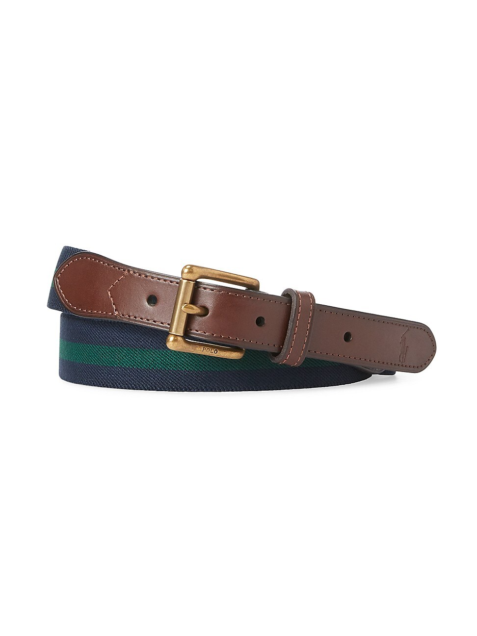Polo Ralph Lauren Belt, Edge-stitched Leather Belt In Navy Forest Green