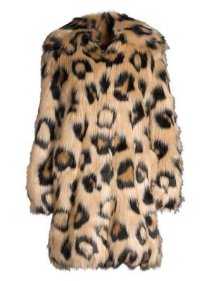 Stupendous Animal Printed Faux Fur Coat Machost Co Dining Chair Design Ideas Machostcouk