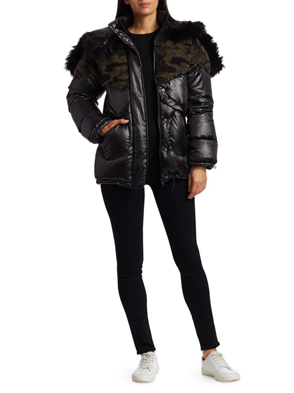 Blanc Noir Camo Faux Shearling & Faux Fur Puffer Coat | SaksFifthAvenue
