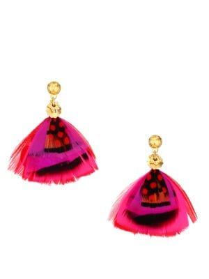 Gas Bijoux Accessories Bermudes 24K Goldplated & Feather Drop Earrings