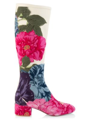 Valentino Garavani Embroidered Cammelia Print Leather Tall Boots by Valentino