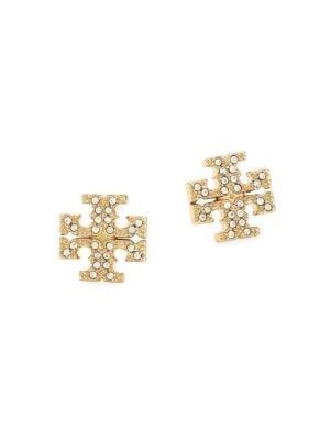 Tory Burch Crystal Pav Logo Stud Earrings