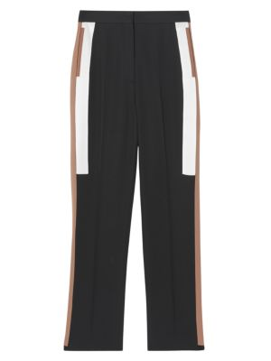 Burberry Side Stripe Wool Straight Leg Trousers