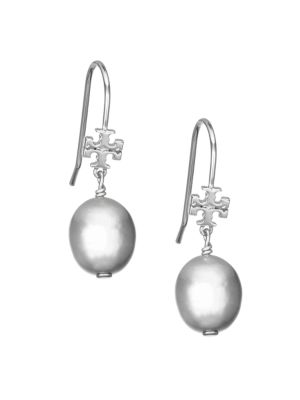 Tory Burch 12mm Silver Pearl Logo Drop Earrings