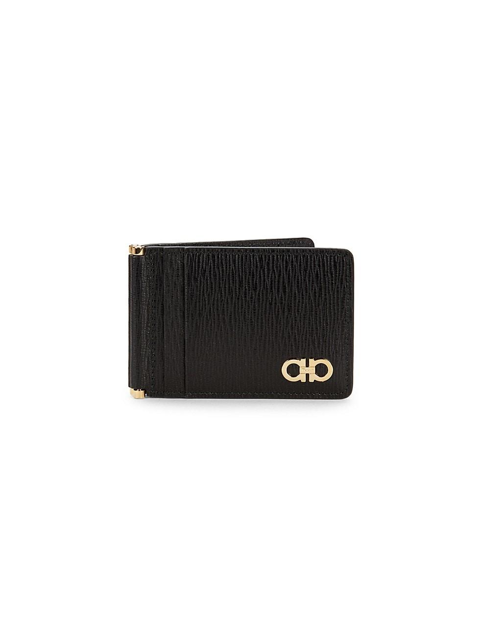 페라가모 Salvatore Ferragamo Revival Gancio Textured Leather Card Case,NERO