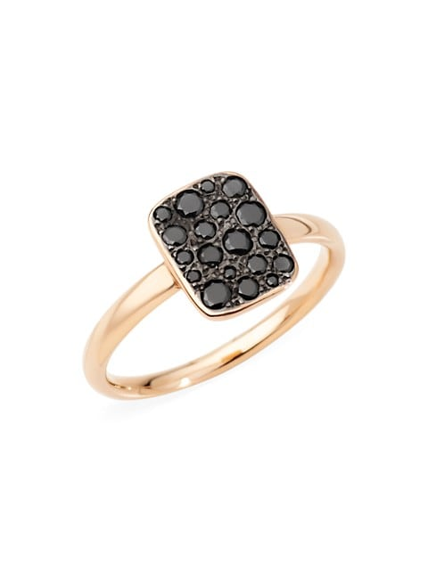 Sabbia Small 18K Rose Gold & Black DiamondRectangular Ring