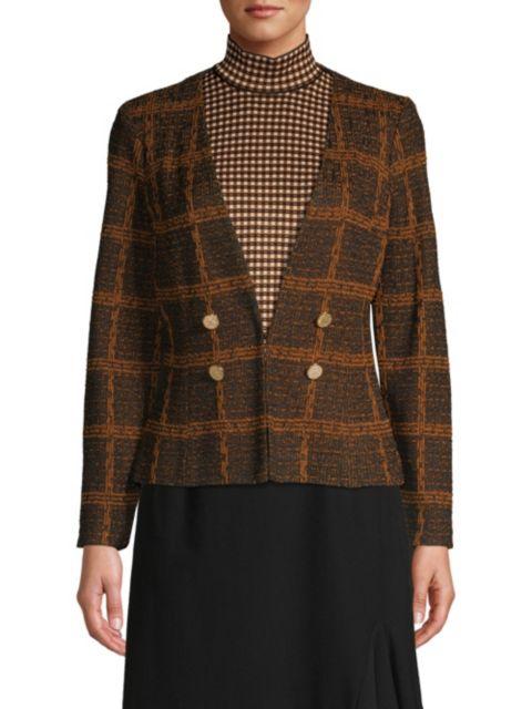 Misook Plaid Tweed Button Jacket | SaksFifthAvenue