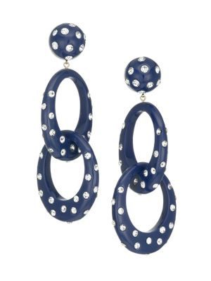 Lele Sadoughi Crystal Embellished Interlocking Oval Hoop Earrings