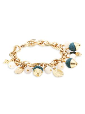 """GOLD CHUNKY DOUBLE ROW BOSS CHARM CHAIN LINK 7/"""" CLASP STATEMENT BRACELET NEW"""