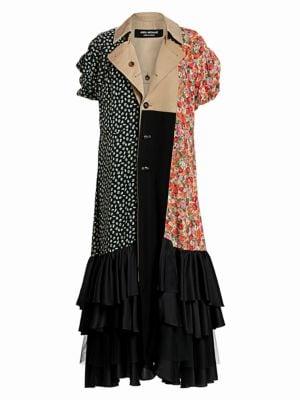 Junya Watanabe Patchwork Floral Reversible Ruffle Trench Coat