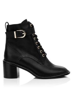 5b3bf015ea0 Raster Leather Block Heel Combat Boots in Black