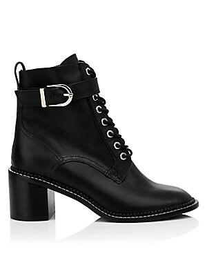 Raster Leather Block Heel Combat Boots by Joie