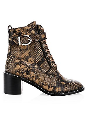 Raster Python Embossed Leather Combat Boots by Joie