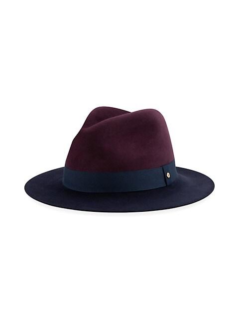 Colorblock Wool Wide-Brim Fedora Hat