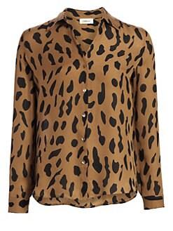 8130e7d3742071 L'Agence. Nina Animal-Print Silk Blouse