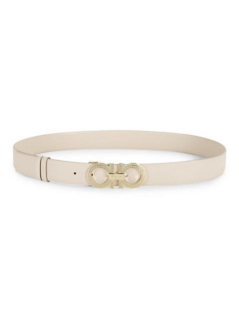 Hemispheres Gancini Buckle Reversible Leather Belt