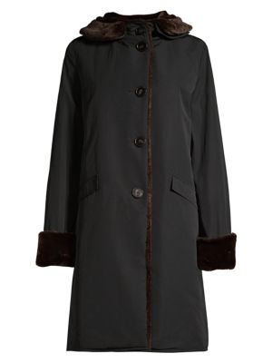 Jane Post Coats Faux Fur Pile Lined Storm Coat