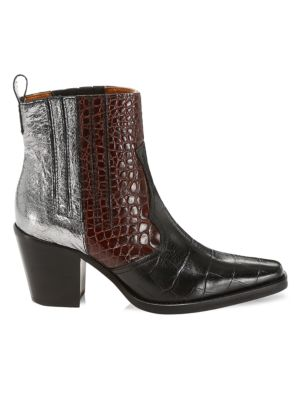 Ganni Boots Western Mixed-Media Leather Ankle Boots