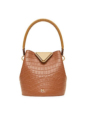 Extra Small Josh Croc Embossed Leather Bucket Bag by Danse Lente