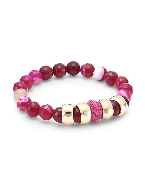 Pink Agate & Raffia Stretch Bracelet