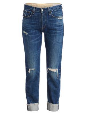 Rag & Bone Rosa Mid-rise Distressed Boyfriend Jeans In Wyatt With Holes