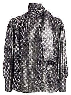 0ff1e76307a542 Dodo Bar Or. Kelly Lurex Silk & Metallic Tie-Neck Blouse