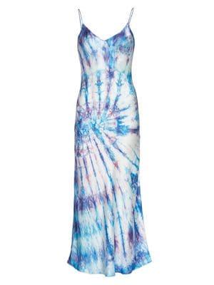 detailing finest selection first rate Dannijo Tie-dye Silk Slip Dress In Blue Tie Dye   ModeSens