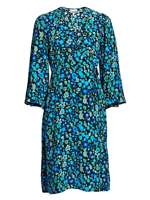 Floral Silk Blend Wrap Dress