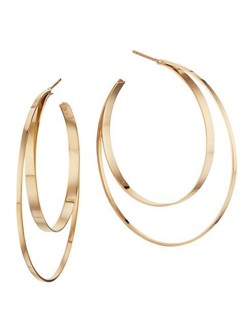 Small 14K Yellow Gold Double Hoop Earrings