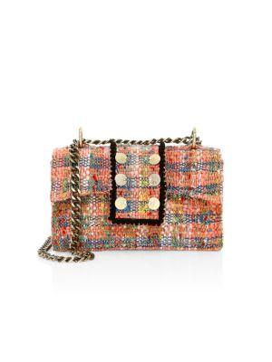 Kooreloo Soho Tweed Shoulder Bag In Peach