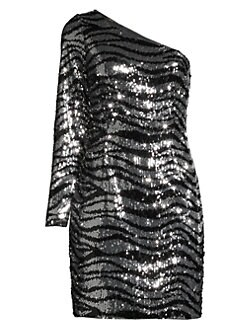 384b73ba97fd Aidan by Aidan Mattox. One-Shoulder Zebra Sequin Mini Dress