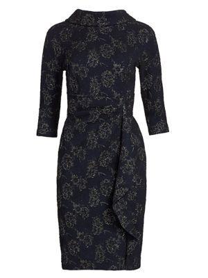 Teri Jon By Rickie Freeman Embellished Metallic Jacquard Highneck Dress