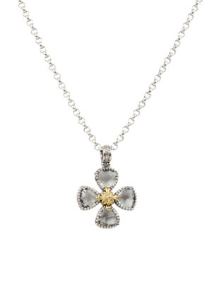 7c2a74ed45b71 Konstantino - Sterling Silver/18K Yellow Gold Crystal Clover Pendant ...