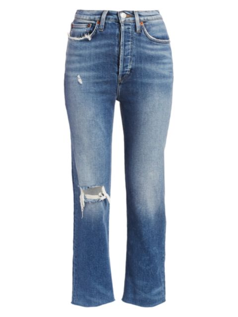 Re/done Comfort Stretch Ultra High-Rise Stovepipe Jeans | SaksFifthAvenue
