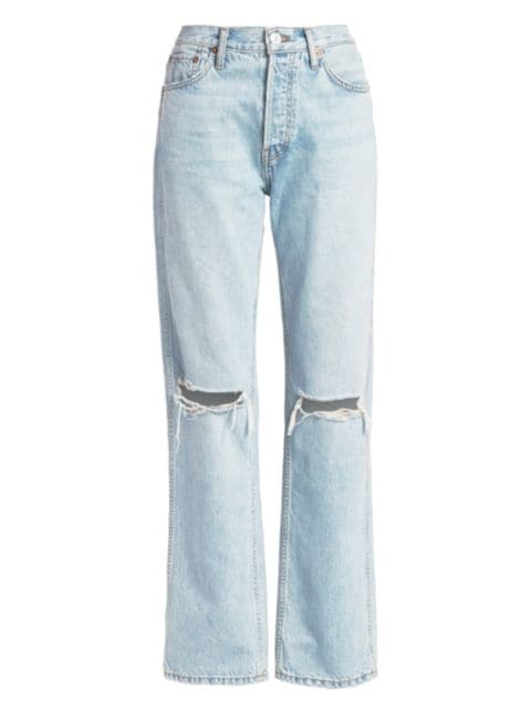 Re/done High-Rise Ripped-Knee Loose Jeans   SaksFifthAvenue