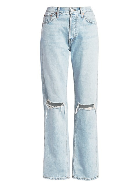 High-Rise Ripped-Knee Loose Jeans
