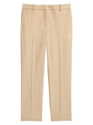 Sleek Flannel Cropped Tailored Trousers by Theory